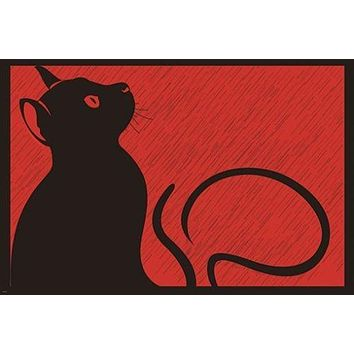 black cat in the rain MODERN ART POSTER animal BLACK RED unique 24X36 HOT