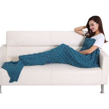 CREYU3C Soft Comfort Handmade Knitted Mermaid Tail Blanket Cute Warm Sofa Air Conditioner 190 x 90cm Cotton Blankets For Children Adults