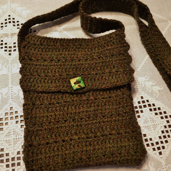 Crochet Cross Body iPad Tablet Device Cover Sleeve Brown Green Wooden Button Handmade Littlestsister