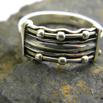 sterling silver ring three band rows beaded with sterling silver beads ,stackable ring handmade jewelry , size 6.5