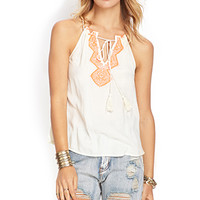 FOREVER 21 Embroidered Woven Halter Tank Cream/Coral