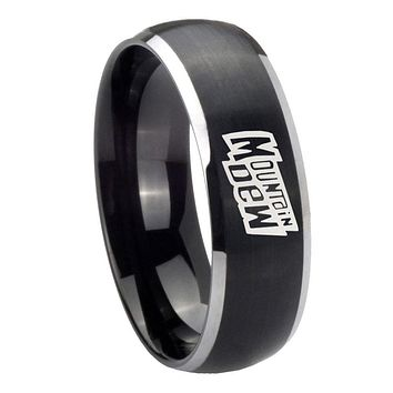 8MM Matte Brush Black Dome Mountain Dew 2 Tone Tungsten Laser Engraved Ring