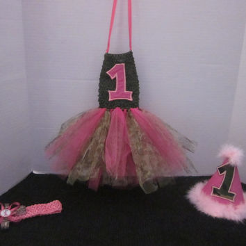 Girls 1st Birthday Pink Camo Tutu Outfit By Sweetpeas Bows & More