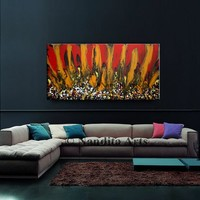 "Painting - Abstract Modern Art on Canvas 48"" Red, Yellow, and Black, Large Original Artwork, Handmade Huge Painting, Home Decor by Nandita"