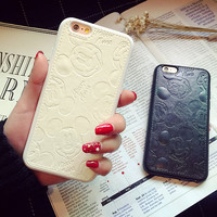 Disney Mickey Mouse PU Leather Embossed Phone Case For iPhone 7 7Plus 6 6s Plus