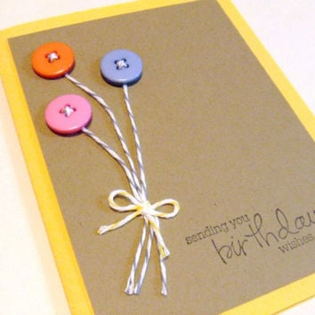 Birthday Ballons Yellow Birthday Card by prettypetalspaper on Etsy