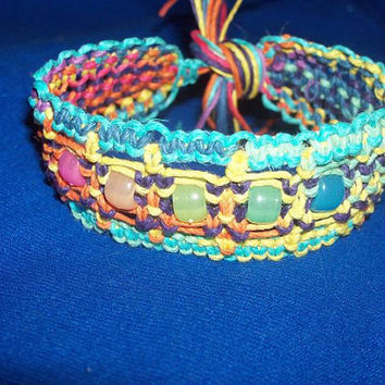 Thick rainbow hemp macrame bracelet with glow in the dark pony beads- hemp jewelry, kandi, rave, hippie