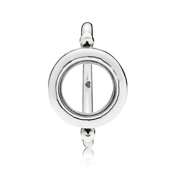 New Trendy 925 Sterling Silver Fashion Signature Floating Locket Ring For Women Wedding Party Gift Fine Pandora Jewelry Original