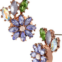 SPRING FLING PURPLE FLOWER AND LEAF STUDS PURPLE