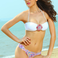 White Jewelled Bikini Top with Floral Print Ruched Buttom