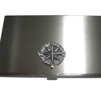 Silver Toned Textured Nautical Compass Business Card Holder