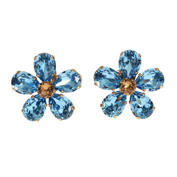 Dolce & Gabbana Gold Brass Floral Blue Crystal Large Clip On Sicily Earring