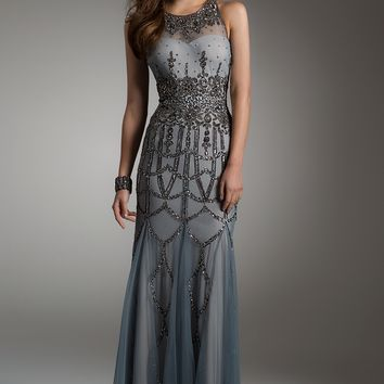 Beaded Neckline Dress with Illusion Back from Camille La Vie and Group USA