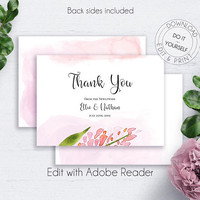 Floral Wedding Thank You Card, Blush Watercolor Flowers, DIY Wedding Template, Floral Thank You Wedding, Thank You Template, Wedding Set
