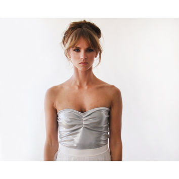 Ballerina Strapless Silver stretchy party top  2007