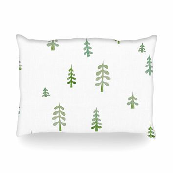 "Jennifer Rizzo ""Watercolor Pine Trees"" Green White Nature Abstract Watercolor Painting Oblong Pillow"