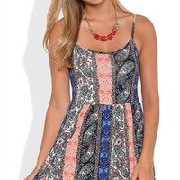 Boho Babydoll Dress with Colorblock Tribal Print