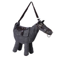 Animal Horse Shape Canvas Crossbody Shoulder Satchel Bag