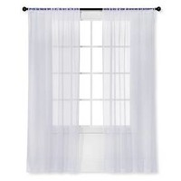 Snow White Sheer Curtain Panel Crinkle 40X84 - Room Essentials™ : Target