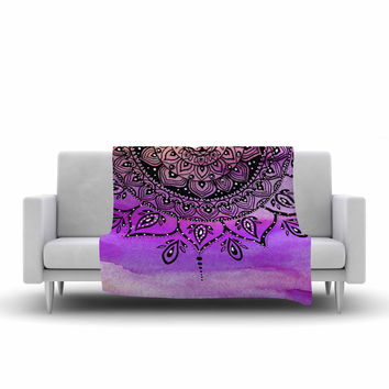 "Li Zamperini ""Lilac Mandala"" Lavender Purple Fleece Throw Blanket"