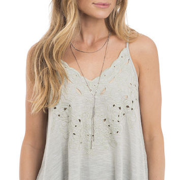 Best Coast Embroidered Scallop Cami Top