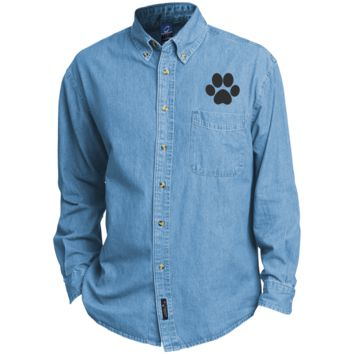 Paw Print Embroidered Long Sleeve Denim Shirt