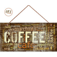 """Distressed Coffee Sign, Words Cafe Mocha Cappuccino Latte, Weatherproof, 5""""x10"""" Wall Plaque, Cafe Decor, Made To Order"""