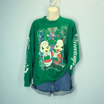 Mickey Mouse Ugly Christmas Sweatshirt / 80s Mickey Minnie Top / Holiday Sweatshirt
