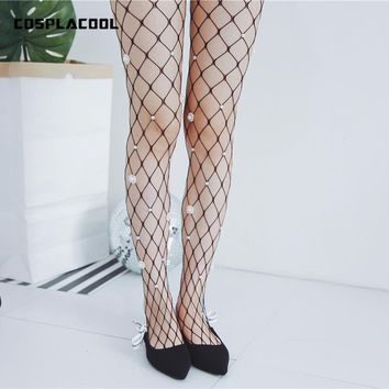 [COSPLACOOL]New White Flowers Pearl/Gem Tights Women Fishnet Harajuku Sexy  Pantyhose Mesh Meias Hollow Out Fish Net Stockings