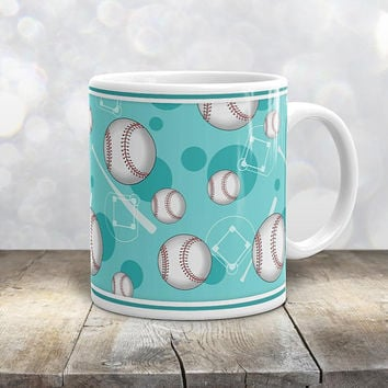 Teal Baseball Mug - Sports Themed Baseball Pattern on Teal - 11oz or 15oz - Made to Order
