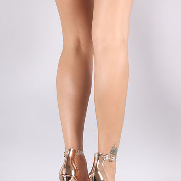 Shoe Republic LA Metallic Lucite Ankle Strap Stiletto Heel