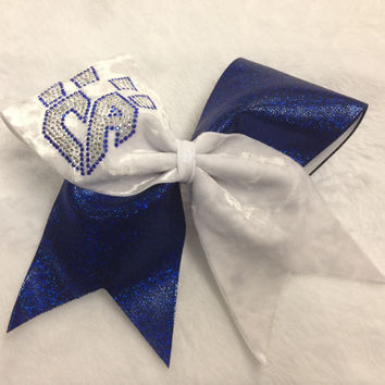 White Velvet Bow w/blue and bling logo