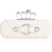 Alexander McQueen Knuckle snake-effect leather box clutch – 55% at THE OUTNET.COM