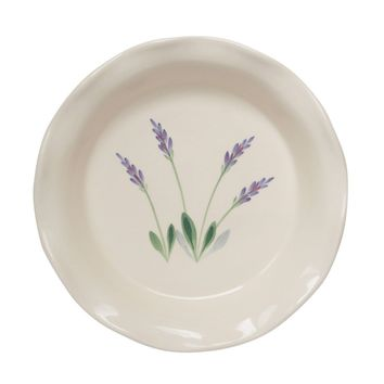 9 Inch Ceramic Deep Dish Pie Pan With Hand Painted Provencal Lavender Design