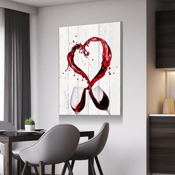 Wine Heart Kitchen and Dining Room Wall Decor Canvas Set