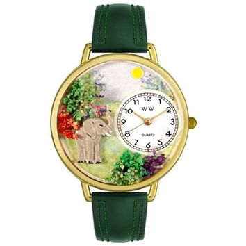 SheilaShrubs.com: Unisex Elephant Hunter Green Leather Watch G-0150018 by Whimsical Watches: Watches