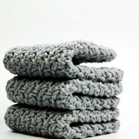 Gray Sky Dishcloths, Crochet Cotton Washcloths, Silky Face Cloths