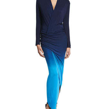 Brielle Long-Sleeve Maxi Dress, Blue Ombre, Size: