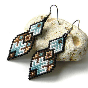 Beaded Earrings, Seed Bead Earrings, Beadwoven, Beadwork, Delica Beads, Peyote