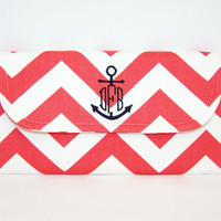 Chevron Clutch with Anchor Monogram in Choice of by jadejourney