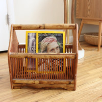 Boho Bamboo Record Holder Magazine Rack Record Storage