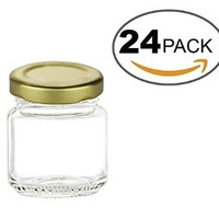 Nakpunar 24 pcs, 1.5 oz Mini Glass Jars for Jam, Honey, Wedding Favors, Shower Favors