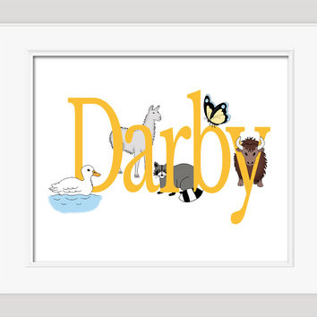 Personalized Nursery Art, Illustrated with Animals, Childrens Art