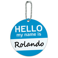 Rolando Hello My Name Is Round ID Card Luggage Tag