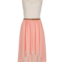 Belted high-low sweetheart lace top dress