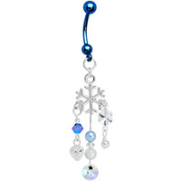 Handcrafted Blue Winter Ice Drops Belly Ring MADE WITH SWAROVSKI ELEMENTS | Body Candy Body Jewelry