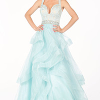 Long Blue Layered A-Line Prom Dress from Paris by Mon Cheri