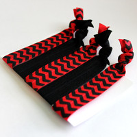 Set of 5 Black & Red Chevron Hair Ties, Ponytail Holders, FOE Hair Ties, Hair Bands, Ribbon Hair Ties, Knotted Hair Ties, Yoga Hair Ties