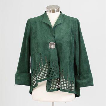 IC Collection 5214J Laser Cut Faux Suede Jacket