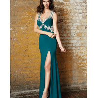Pine Green V-Neck Embroidered Gown